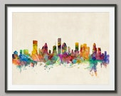 Houston Skyline, Houston Texas Cityscape Art Print (585)