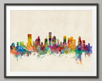 Houston Skyline, Houston Texas Cityscape Art Print (585)