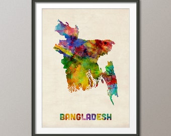 Bangladesh Watercolor Map, Art Print (1035)