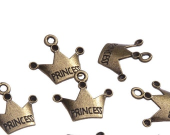 Princess Crown Charm 12 Charms Antique Bronze Tone Metal 18 x 17 mm - bz260