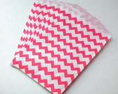 25 Pink favor bags, Pink treat bags - 5 x 7.5 inch - hot pink chevron favor bags. birthday treat bags. party favors . bright pink . princess