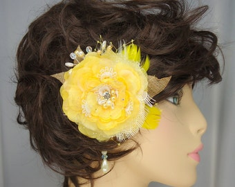 Yellow Organza Lace Bridal Hair Clip