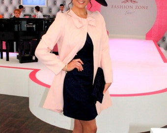 CUSTOM MADE Valentino collection inspired bow-neck concealed closure pale rose jacket coat