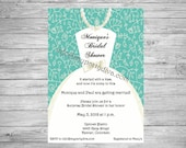 Custom Bridal Dress Invite w/ optional Rhinestones & Bow. Great for Bridal Showers, Engagement / Wedding Invites. Thank You Cards Available.