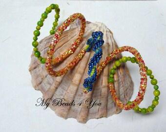 Beaded Bracelet, Beaded Memory Wire Bracelet, Seed Bead Bracelet, Peyote Bracelet, Beaded Spiral, Beadwoven, Jewelry Gift For Her