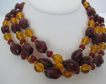 Bead Necklace 3 Strand  Plastic - Red Yellow Bead