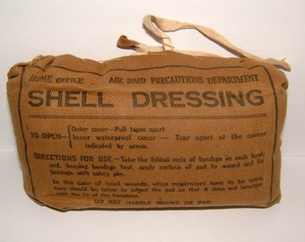 1939 WWII Air Raid Precautions ARP Home Office Shell Dressing Robinson Chesterfield Vintage Military Vintage Field Dressing WWII Field Gear