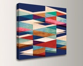 "Mid Century Modern Canvas - Blue, Red, Cream, Teal Colors - Canvas Print - Geometric Art  - Abstract Wall Art  - ""Blue Symmetry"""