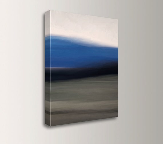 "Landscape Wall Art - Abstract Painting Print - Canvas Gallery Wrapped Art - Blue, Black, Beige, Cream - "" Blue Sky """