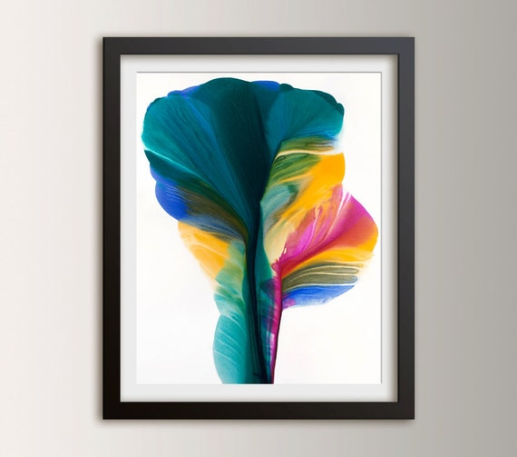 Abstract Floral - Giclee Fine Art Print - Abstract Painting Reproduction - Teal and Yellow Art - Home Decor