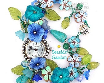 SEASIDE GARDEN, Original and Whimsical Artist Bracelet watch, Swarovski, Teal, Blue and Turquoise, Australian Made