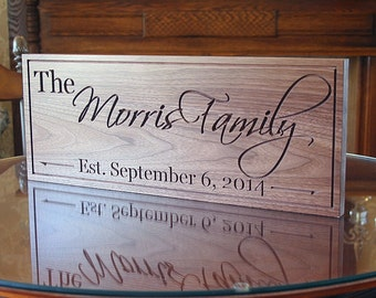 Family Name Sign, Wood Established Sign, Custom Date Sign, Custom Wedding Sign, Carved Wooden Sign, Benchmark Custom Signs, Walnut OG