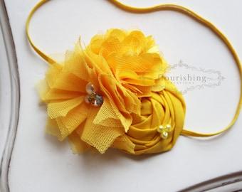 Yellow Flower headband, everyday headbands, back to basics headbands, newborn headbands, photography prop