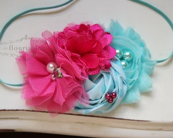 Pink and Aqua  headband, pink headbands, rosette headbands, newborn headbands, photography prop