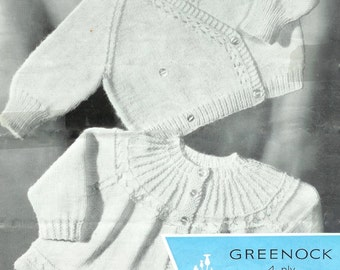 Baby 4ply Matinee Jacket and Crossover Cardigan for ages up to 9 months - Greenock 813 - PDF of Vintage Baby Knitting Patterns