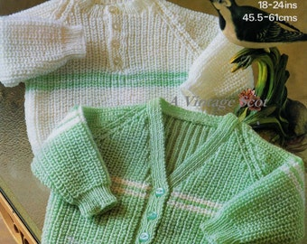 Baby /Toddler 4ply  Cardigan and Sweater 18 - 24 ins - Marriner 1877 - PDF of Vintage Knitting Pattern