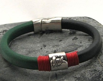 EXPRESS SHIPPING Men's Bracelet. Men Leather Bracelet Black and Green Men leather bracelet with silver plated spacer and clasp