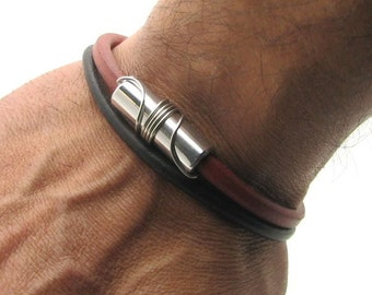 EXPRESS SHIPPING Men's Bracelet. Men Leather Bracelet Brown and red Men leather bracelet with handmade aluminium with silver plated clasp