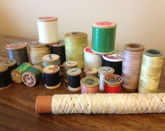 2nd Lot of 23 Spools of Vintage Sewing Thread, Many Wood Spools