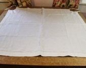 Vintage Tablecloth for Card Table- Ivory Linen- Tie Corners- Open Hemstitch