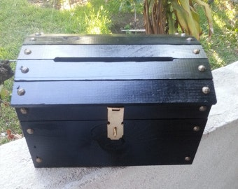 Small Black Wooden Wedding Treasure Chest Card Box with Card Slot.