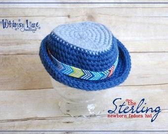 Newborn Fedora Hat- Sterling Fedora-Summer-Baby Photo Prop