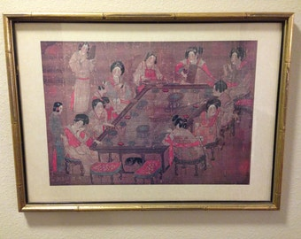 Faux Bamboo Gold Framed Chinoiserie Art Hollywood Regency