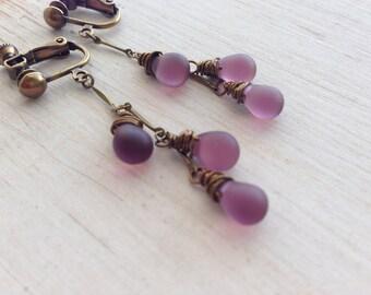 Purple Frosted Teardrop Dangle Clip On Earrings, Long Chain Clip on Earring, Screw Back Clip On, Non Pierced, Wire Wrapped