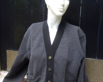 SALVATORE FERRGAMO Italy Gray Knit Ribbon Trim Cardigan