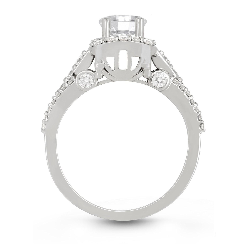 Cinderella Carriage Engagement Ring Diamond 14kt White