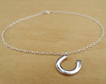 Silver Anklet With Horseshoe - Sterling Silver