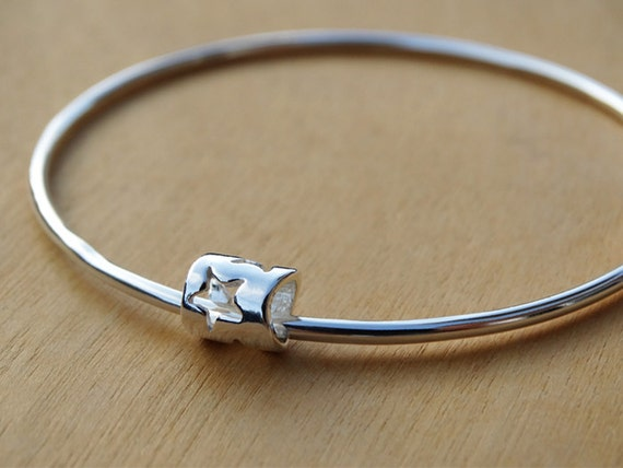 Silver Star Bead Bangle - Sterling Silver