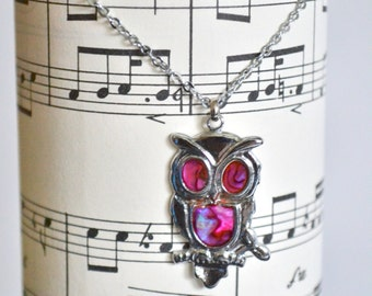 Vintage Owl Necklace, Metal with Pink Abalone Shell Pendant on a Silver Chain. Choker Style. Chic  Unique Bohemian Gift