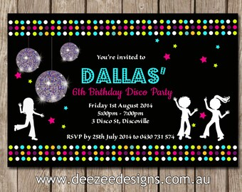 Disco Dance Personalised Birthday Invitations - YOU PRINT