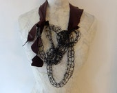 Wire & Leather Abstract Finger Knitted Necklace