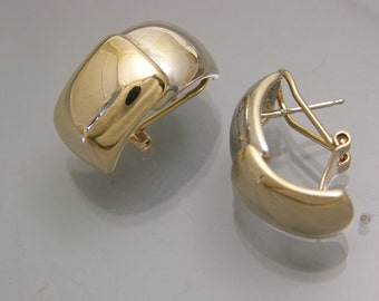 14k Yellow and 14k White gold earrings with omega backs - Modern Bi-color Shell style