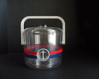 Nautical Vintage Ice Bucket Red White and Blue // Ship Yacht Boating