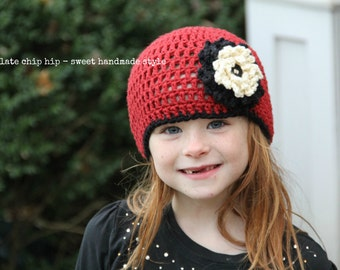 Crochet Beanie - Dark Red, Black & Cream