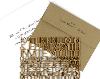 "Solid Wood Wedding Invitation Sample - Thin ""FreeCut SanSerif"" Design Laser Cut From Bamboo Plywood or Baltic Birch Plywood"