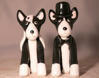 Boston Terrier Dog Wedding Cake Topper