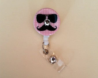 I Mustache You A Question Button Badge Reel