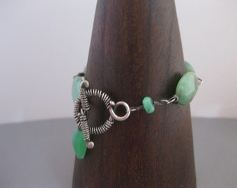 Chrysoprase & Silver Ladies Small Toggle Bracelet