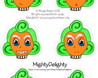 Assorted Oompa Loompa Cupcake toppers Willy Wonka Party