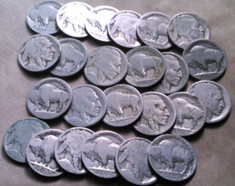 24 US Buffalo Nickels Undated -  Good for Jewelry-Making.  ND.