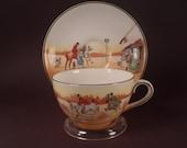 Royal Doulton Fox Hunting Tea Cup and Saucer, English Bone China