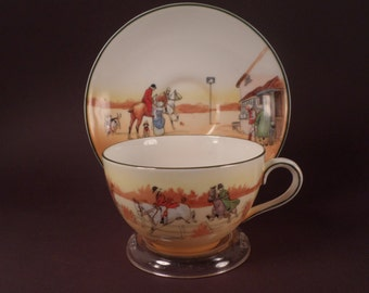 Royal Doulton, Fox Hunting, Tea Cup, Saucer, English Bone China, Country Formal Dining, Horse Collectible, Vintage, Hunter Gift