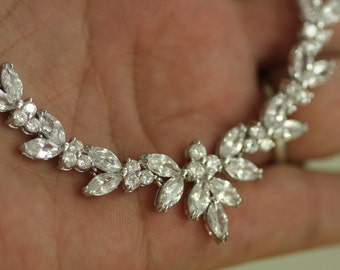Bridal Necklace earrings set-Wedding Necklace, Cubic Zirconia, Double Drop, Vintage Jewelry, Wedding jewelry,