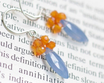 SALE--Dangle earrings with Blue chalcedony, Carnelian, sterling silver, 14K gold filled. E248.