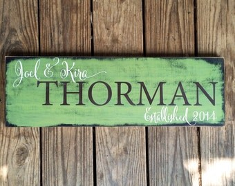 Personalized family sign. Established Plaque.