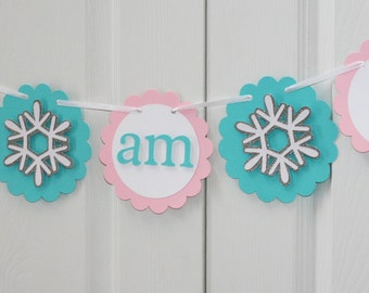 Snowflake  I am 1 Highchair Banner, Snowflake Banner, Snowflake ONE banner, Winter Onederland Banner, Snowflake  First Birthday, Winter